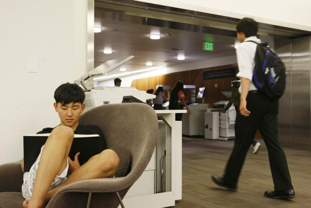Kangwoo Yu, a junior in mining, studies in a womb chair at the Marriott Library, Wednesday, September 2, 2015. Photo credit: Chris Samuels