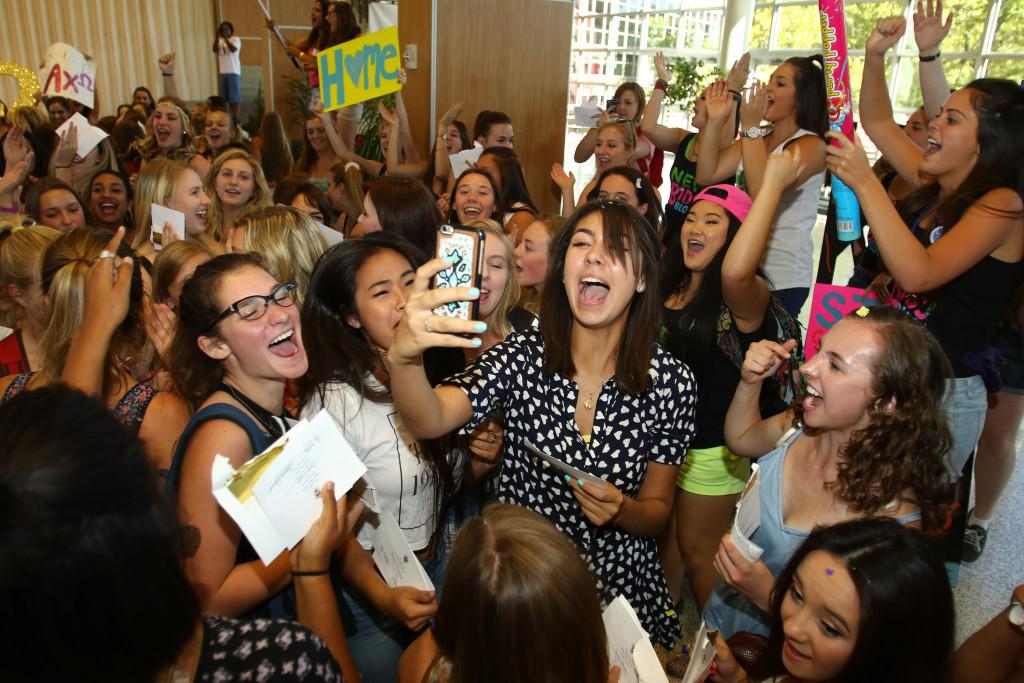 Sorority members celebrate Bid Day at the Union Ballroom, Wednesday, Sept. 8, 2015. Chris Samuels, Daily Utah Chronicle.