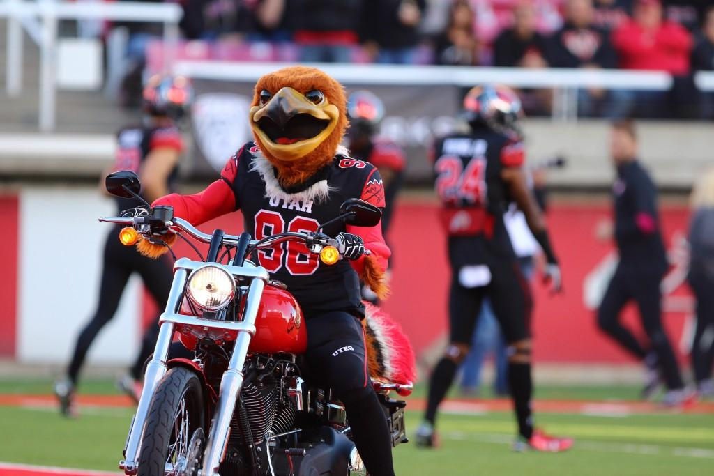 Swoop enters the field on a motorcycle before the Utah Utes play the Oregon State Beavers in Pac-12 football at Rice Eccles Stadium, Saturday, Oct. 31, 2015. Tara Lincoln, Daily Utah Chronicle.