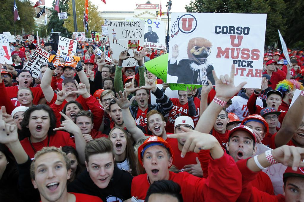 Fans' signs are on display during a broadcast of ESPN's College GameDay on President's Circle, Saturday, Oct. 10, 2015. Chris Samuels, Daily Utah Chronicle.