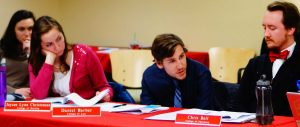 Senator Chris Bell speaks about the Indigenous Peoples' Day Resolution during the ASUU Senate Meeting  at the U on Thursday, Jan. 28th, 2016. (Rishi Deka, Daily Utah Chronicle)