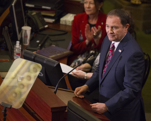 Utah Gov. Gary Herbert gives his yearly state of the state address, Wednesday January 27, 2016. (Mike Sheehan, Daily Utah Chronicle)