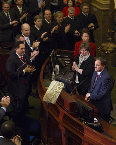 Utah Gov. Gary Herbert pauses during his State of the State address, Wednesday January 27, 2016. (Mike Sheehan, Daily Utah Chronicle)