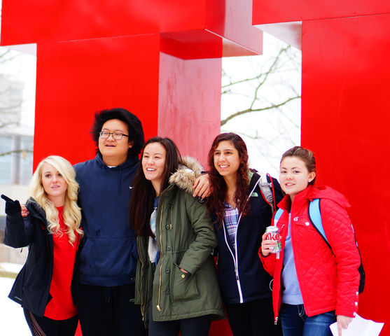 A group of U students pose at the Block U during the True to U event at the U in Salt Lake City on Thursday, Feb.11th, 2016. (Rishi Deka, Daily Utah Chronicle)
