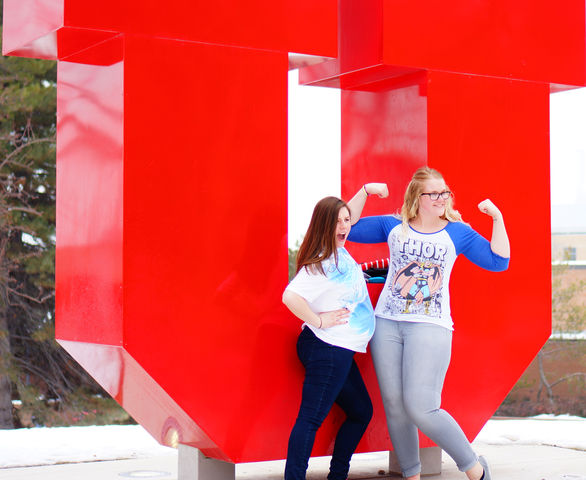 Two U students pose at the Block U during the True to U event at the U in Salt Lake City on Thursday, Feb.11th, 2016.(Rishi Deka, Daily Utah Chronicle)