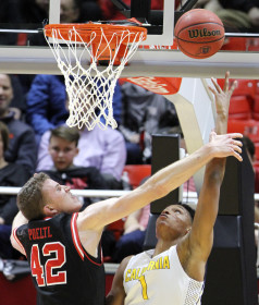 Sophomore forward Jakob Poeltl (42) tries to block a shot by Cal Golden Bears forward Ivan Rabb (1) in a Pac-12 regular season game against the Cal Golden Bears at the Jon M. Huntsman Center, Wednesday, Jan. 27, 2016. Chris Samuels, Daily Utah Chronicle.