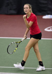 Utah Tennis sophomore Margo Pletcher pumps her fist after she won the point against Boise State at the Eccles Tennis Center on Saturday, Feb. 16, 2016