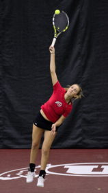 Utah Tennis sophomore Margo Pletcher serves the ball against Boise State at the Eccles Tennis Center on Saturday, Feb. 16, 2016