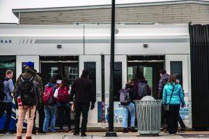 People Waiting to Board UTA's Trax
