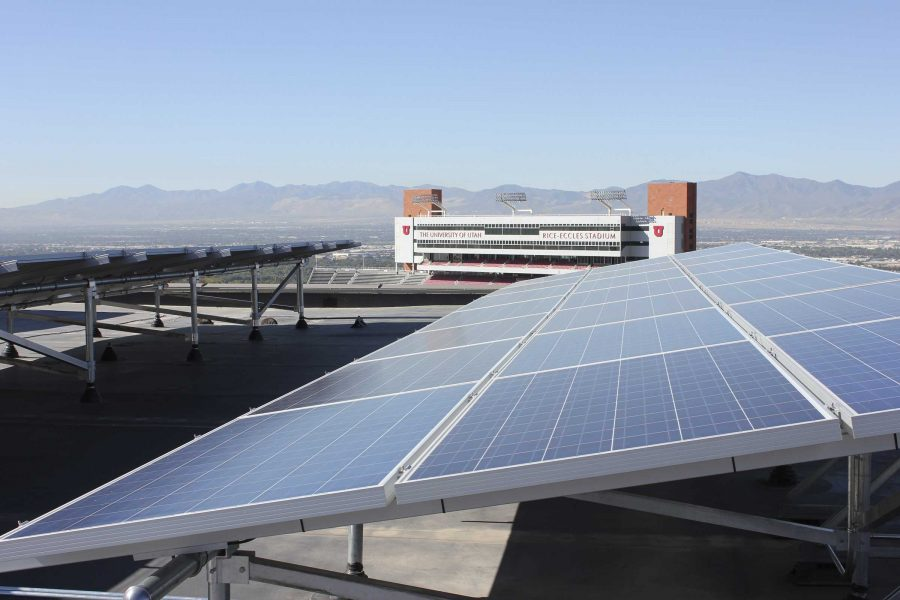 Solar panels sit above the Marriott Library at the University of Utah.