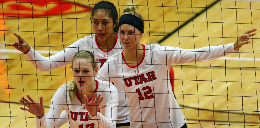 Members of the U volleyball team align themselves before the serve in the 2015 Utah Classic against the Idaho State Bengals in the Jon M. Huntsman Center, Friday, August 28, 2015.