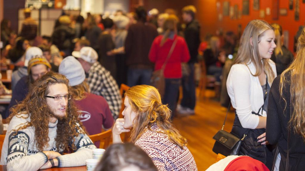 People mingle before the films start at the Wild & Scenic film festival, Wednesday November 18, 2015.