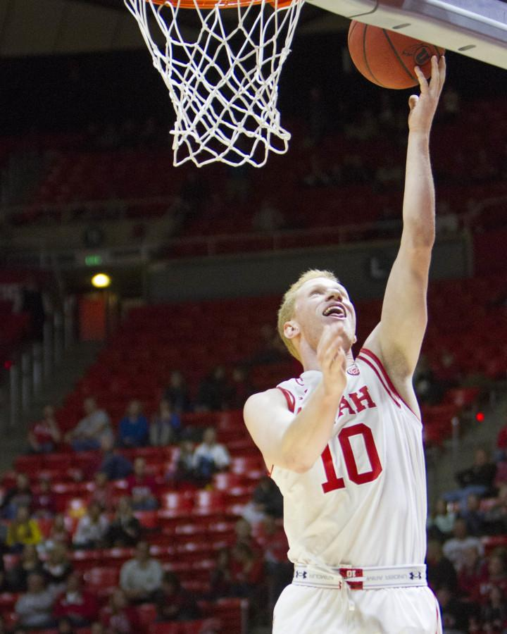 Utah Utes freshman guard Jake Connor (10) Goes for a layup at the Utah vs Deleware state basketball game, Tuesday December 22, 2015.