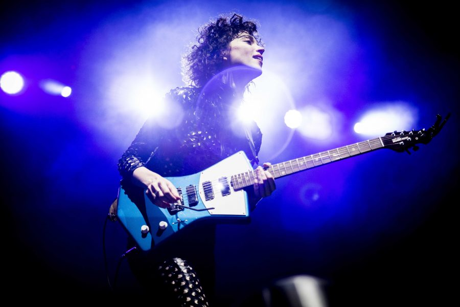 Annie Clark of St. Vincent performs at the Twilight Concert Series at Pioneer Park in Salt Lake City, Thursday, August 27 2015. (Chris Ayers, Daily Utah Chronicle)