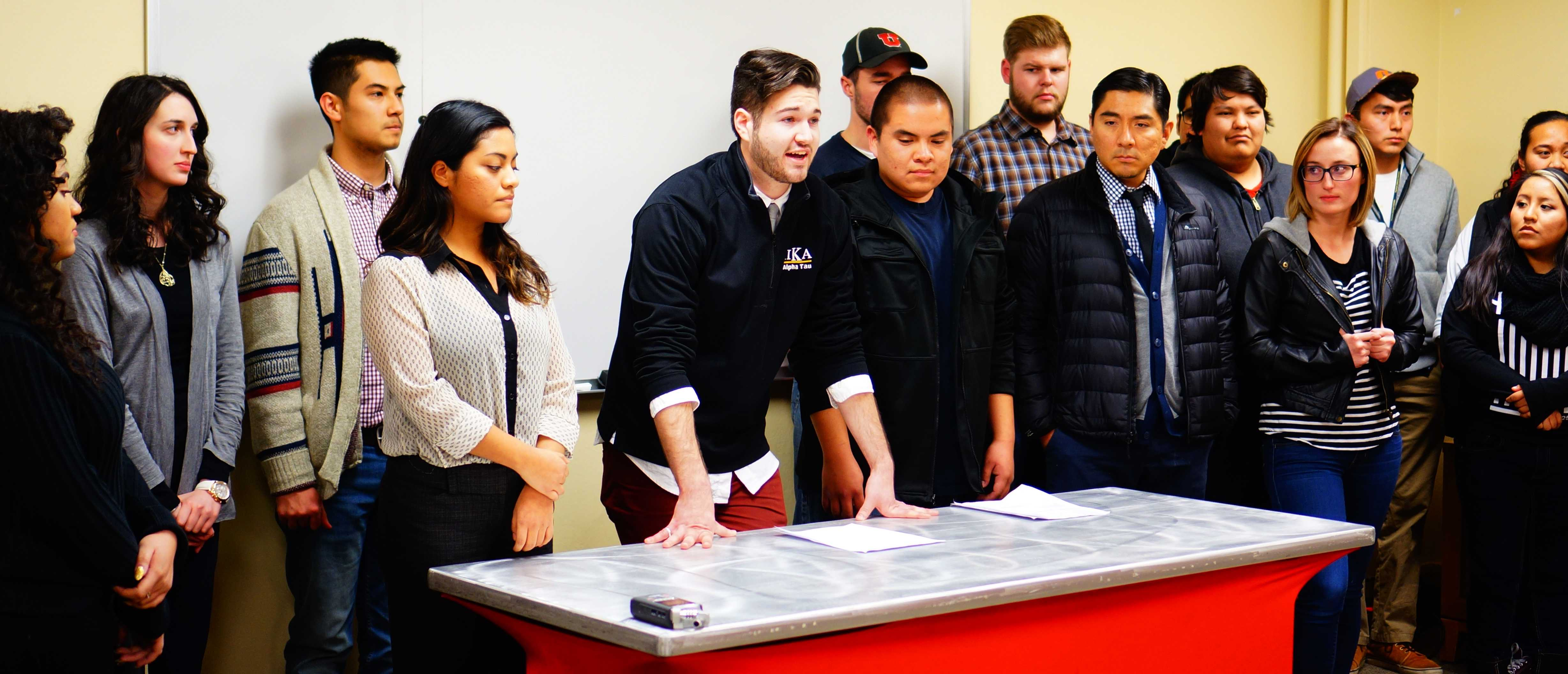 Anthony Fratto speaks about the Indigenous Peoples' Day Resolution during the ASUU Senate Meeting  at the U on Thursday, Jan. 28th, 2016. (Rishi Deka, Daily Utah Chronicle)
