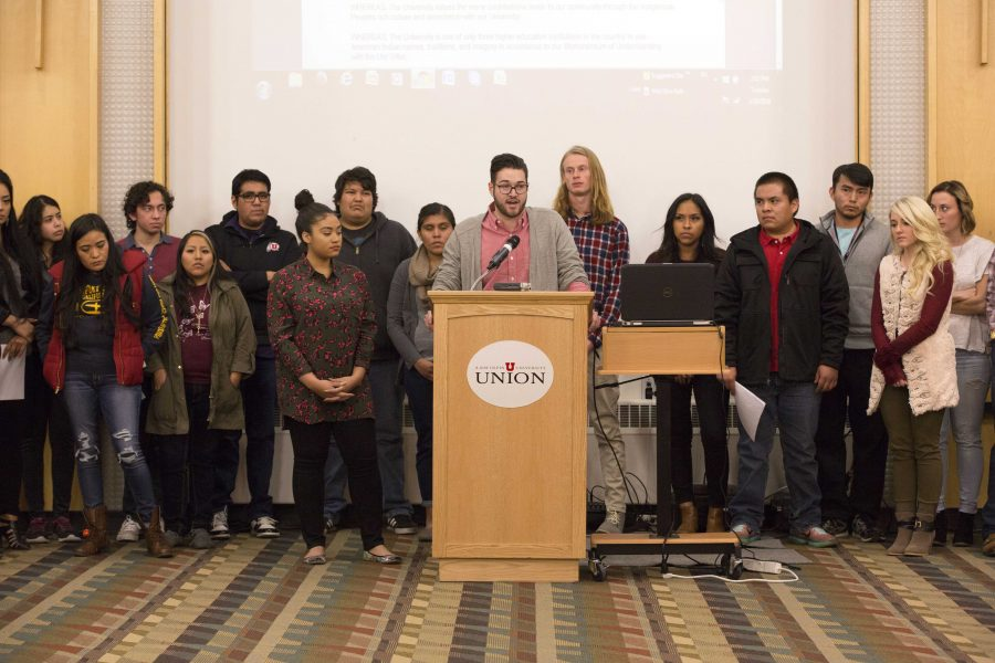 ASUU Vice President Anthony Fratto speaks to the Assembly on behalf of Indigenous people during an ASUU Assembly meeting in the Union Saltair Room on Tuesday, Jan. 26, 2015. The Assembly passed Joint Resolution 4, which formally proposes the U change recognizing Columbus Day into Indigenous Peoples' Day. (Chris Ayers, Daily Utah Chronicle)