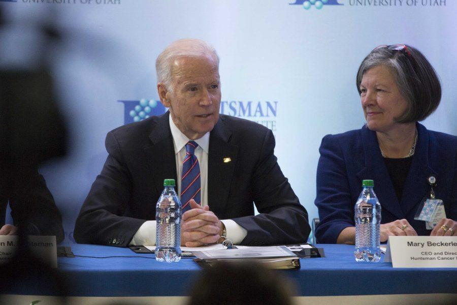 Vice President Joseph Biden speaks while Mary Beckerle looks on during the cancer
