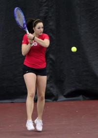Utah Tennis freshman Brianna Turley returns a volley against Boise State at the Eccles Tennis Center on Saturday, Feb. 16, 2016