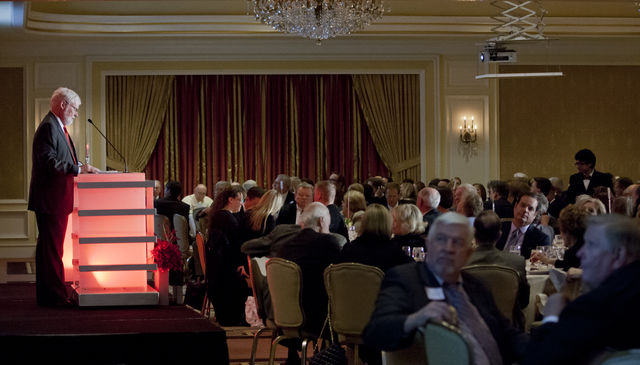 —Dane Goodwin  President Pershing speaks at the 2014 Founders' Day Banquet on Thursday evening at the Little America Hotel.