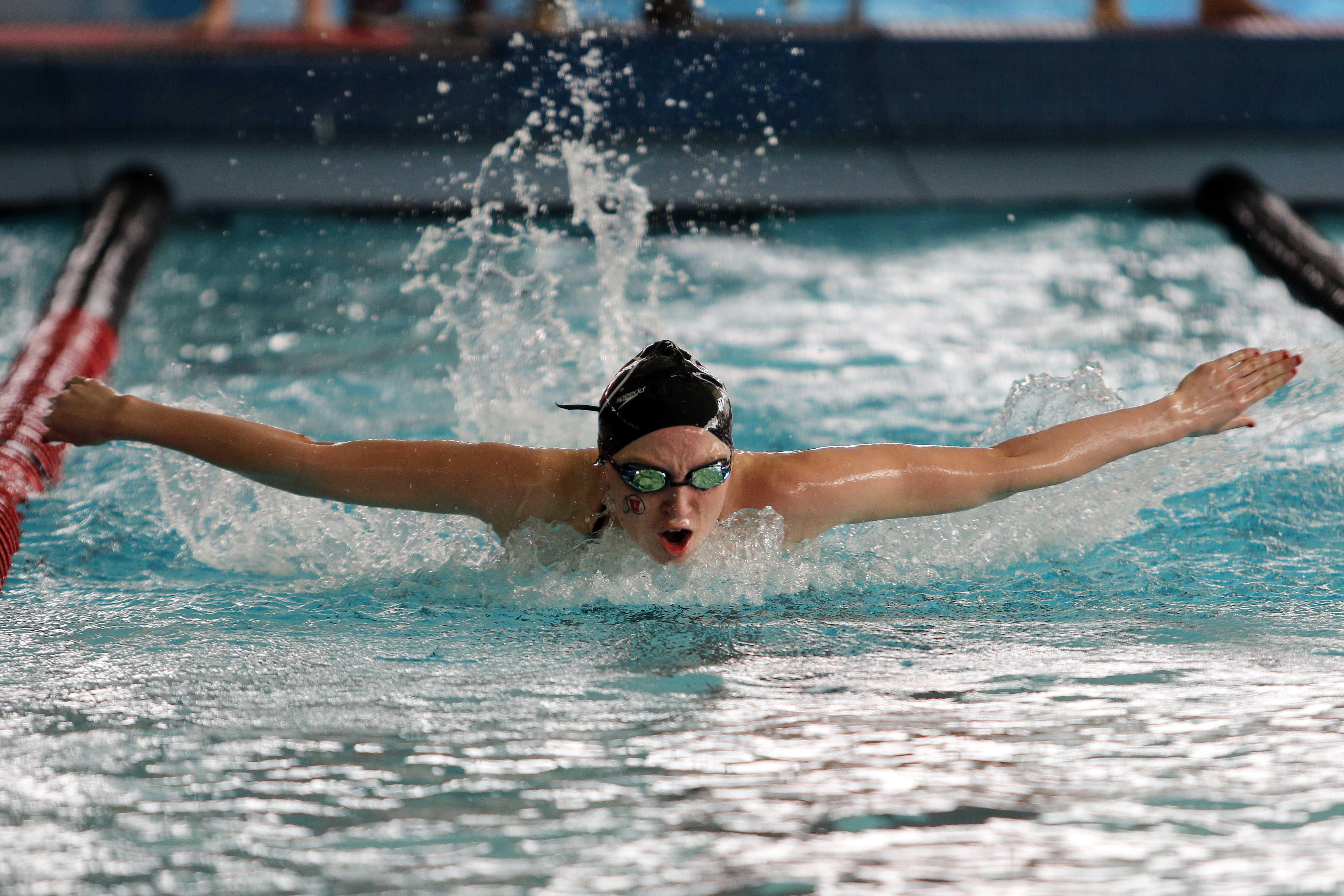 Freshman Jordan Anderson competes in the 200 butterfly during a Pac-12 women's swimming meet against the Washington State Cougars at the Ute Natatorium, Saturday, Feb., 13, 2016. (Chris Samuels, Daily Utah Chronicle)