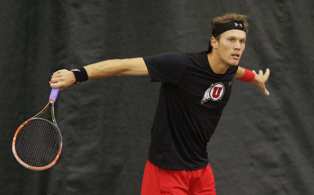 Sophomore Egbert Weverink follows through on a shot in his singles match during an NCAA men's tennis match against the South Alabama Jaguars at the Eccles Tennis Center, Saturday, Feb., 13, 2016. (Chris Samuels, Daily Utah Chronicle)