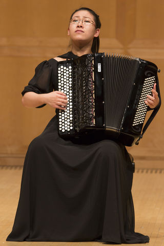 Award-winning young musical prodigy accordionist Tian Jianan performing at Libby Gardner Hall on Tuesday, Feb. 2, 2016. (Chris Ayers, Daily Utah Chronicle)