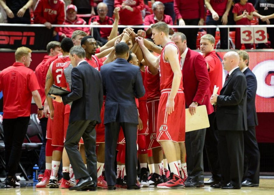 Utah Utes Mens's Basketball team cheers in a huddle during a Pac-12 NCAA game vs. The Arizona Wildcats in the Jon M. Huntsman Center, Salt Lake City, Utah on Saturday, Feb. 27,2016