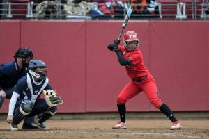 Utah Women's Softball junior Bridget Castro (3) stans at the plate ready for the pitch in the game vs. the BYU Cougars at the Dumke Family Softball Stadium on campus on Wednesday, March 15, 2016