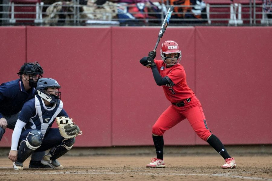 Utah+Women%27s+Softball+junior+Bridget+Castro+%283%29+stans+at+the+plate+ready+for+the+pitch+in+the+game+vs.+the+BYU+Cougars+at+the+Dumke+Family+Softball+Stadium+on+campus+on+Wednesday%2C+March+15%2C+2016