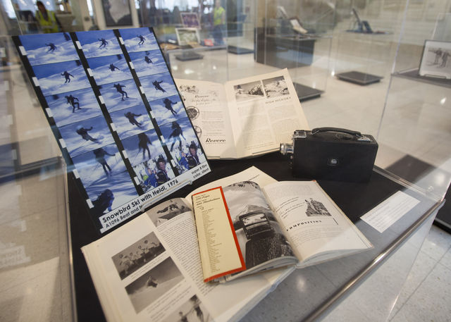 Outdoor recreation exhibit in the special collections gallery in the Marriott Library, Monday Feb. 29, 2016.