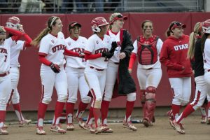 Utah Women's Softball celebrates after junior Anissa Urtez (17) scored the last run during the game vs. the ASU Sun Devils at the Dumke Family Softball Stadium on campus on Saturday, April 16, 2016