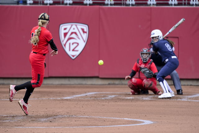 Utah+Women%27s+Softball+pitcher+sophomore+Katie+Donovan+%2813%29+pitches+during+the+game+vs.+the+BYU+Cougars+at+the+Dumke+Family+Softball+Stadium+on+campus+on+Wednesday%2C+March+15%2C+2016