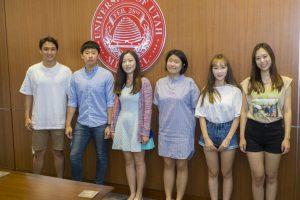 Students from UAC arrive in Utah. Rupert Lee, Jiho Chang, Jihye Park, Mariana Ju, Juhee Kim, Lihae Park. Photos Courtesy of University Marketing & Communications