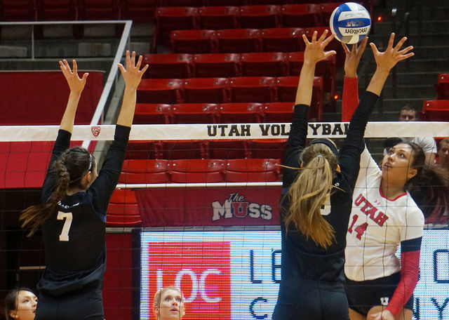 Adora Anae of the Utah Utes women's volleyball team spikes the ball past the Butler Bulldogs at the Huntsman Center on Saturday, August 27, 2016. (Rishi Deka, Daily Utah Chronicle)