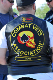 The patch of a member of the Combat Veteran motocycle Association (CVMA) Where the veteran served (Iraq) and his capter (49-2 from Ogden, Utah) Aug 27, 2016 Adam Fondren Daily Utah Chronicle