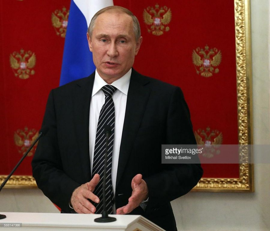 MOSCOW, RUSSIA- AUGUST, 10  (RUSSIA OUT) Russian President Vladimir Putin speeches during his joint press conference with Armenian President Serge Sargsyan (not pictured) after their meeting at the Kremlin, in Moscow, Russia, August,10, 2016. President of Armenia is having a one-day visit to Russia. (Photo by Mikhail Svetlov/Getty Images)
