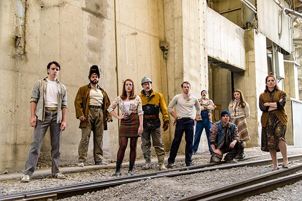 Photo Courtesy of Pioneer Theatre Company L-R: Seth Pike, Paul-Jordan Jansen, Ruthie Stephens, Lenny Daniel, Bryant Martin, Dan Sharkey, Cory Reed Stephens, Bailee Johnson and Anne Tolpegin