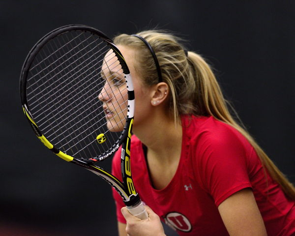 Utah Tennis sophomore Margo Pletcher awaits the serve against Boise State at the Eccles Tennis Center on Saturday, Feb. 16, 2016