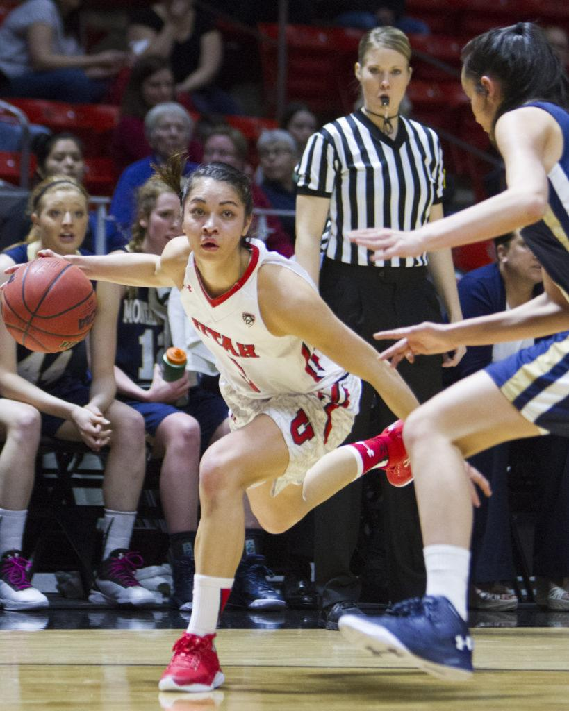 Sophomore wing Malia Nawahine (3) drives to the basket at the Utah vs Montana State basketball game, Friday, March 18, 2016. (Mike Sheehan, Daily Utah Chronicle)