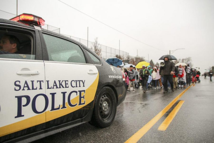 Salt+Lake+City+police+escort+marchers+during+a+rally+and+march+commemorating+Martin+Luther+King%2C+Jr.+Day+along+1300+East+in+Salt+Lake+City%2C+Monday%2C+Jan.+18%2C+2016.