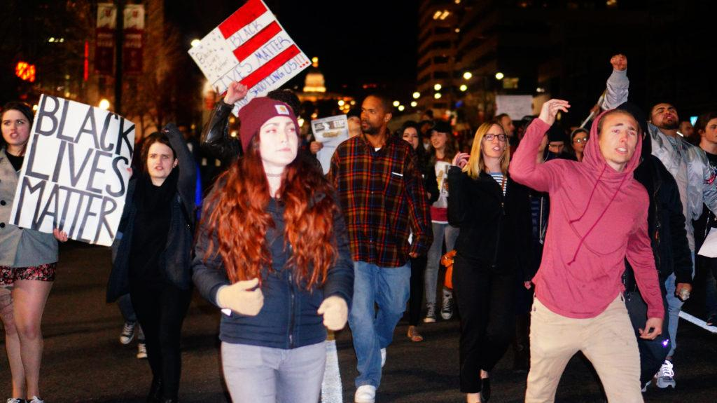 People march during the Utah Against Police Brutality rally and march for Abdi Mohamed in downtown Salt Lake City, Utah on Monday, Feb.29th, 2016. (Rishi Deka, Daily Utah Chronicle)