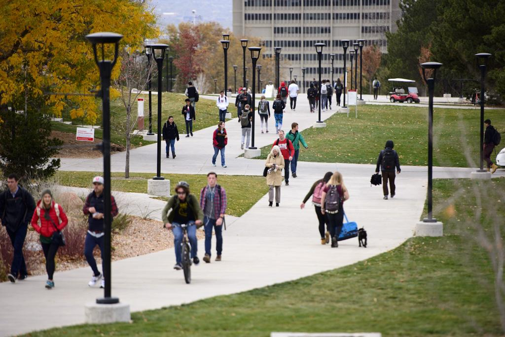 Students walking to and from class on campus at the University of Utah on Wednesday, November 16, 2016