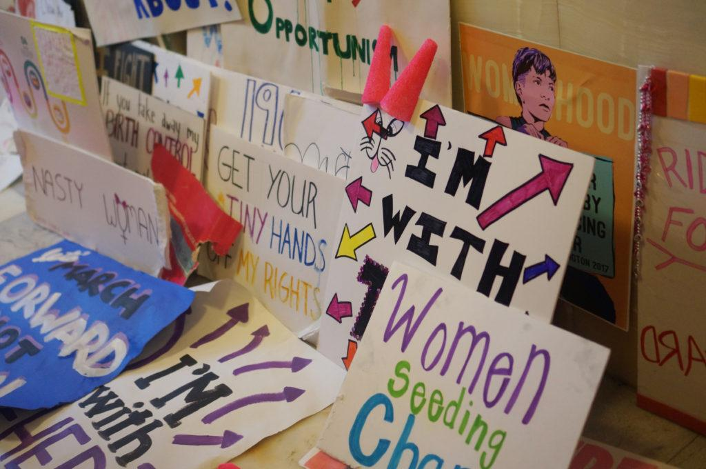 A plethora of signs inside the Utah State Capitol at the end of the Women's March on the Utah State Capitol in Salt Lake City, Utah on Monday Jan. 23, 2017. (Rishi Deka, Daily Utah Chronicle)