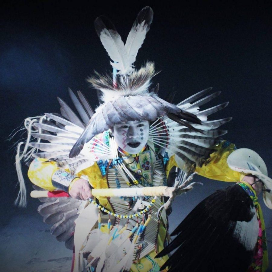 Print-- Folklore in Honor of Water: Carl Moore dancing, photo credit Shane Etsitty