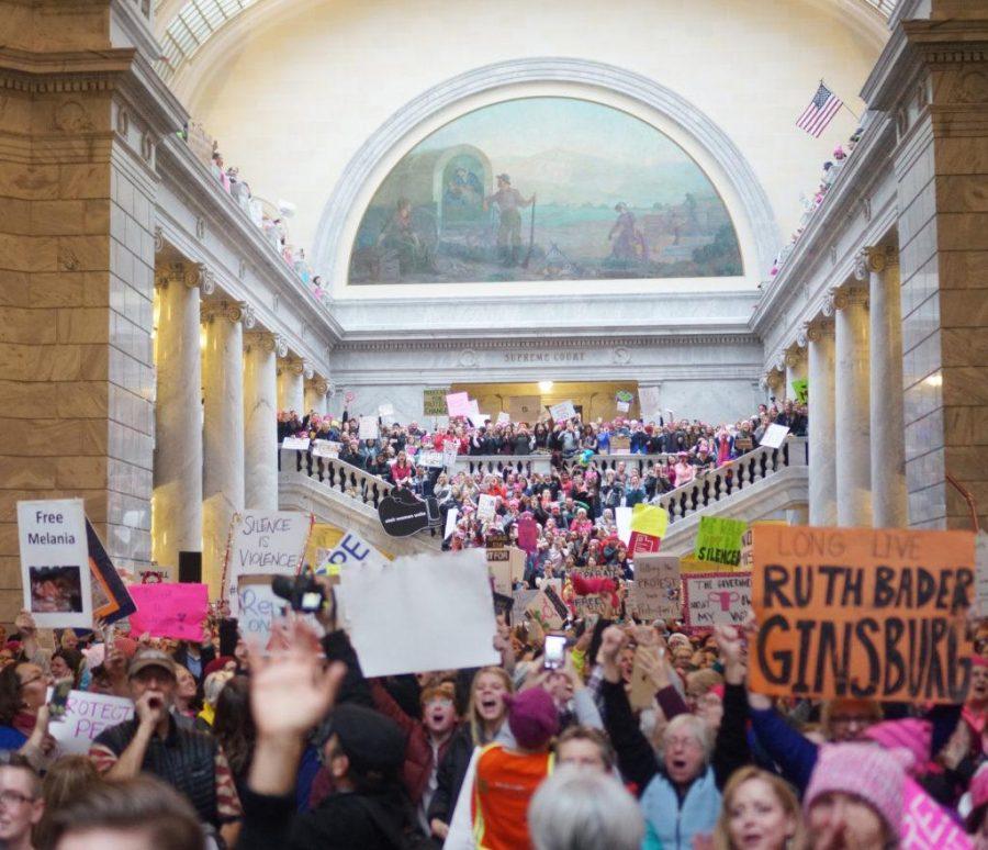 People+cheer+inside+the+Utah+State+Capitol+during+Womens+March+on+the+Utah+State+Capitol+in+Salt+Lake+City%2C+Utah+on+Monday+Jan.+23%2C+2017.+%28Rishi+Deka%2C+Daily+Utah+Chronicle%29