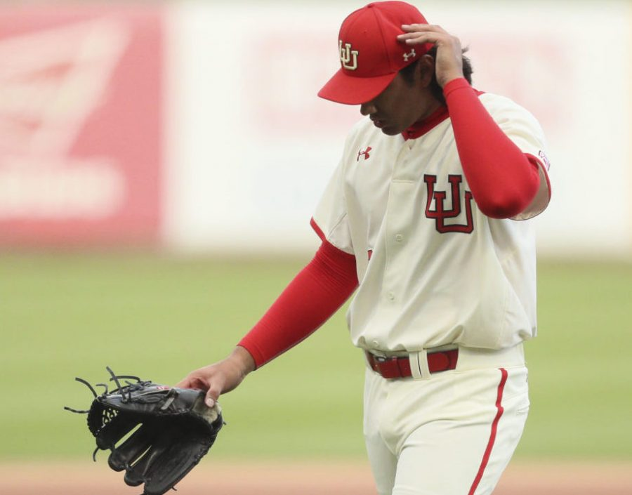 Utes starting pitcher Jacob Rebar (33) pulled from the game in the top of the first after allowing three earned runs against BYU at Smiths Ballpark on Tuesday, March 28, 2017. (Chris Ayers|Daily Utah Chronicle.)