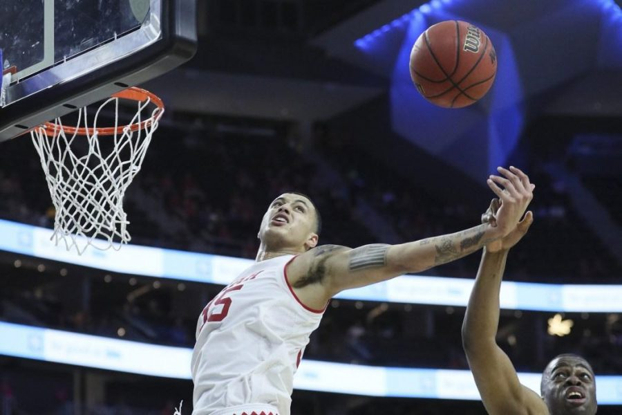 Utah guard Lorenzo Bonam (15) blocked during the second round of the PAC 12 Tournament against the California Golden Bears at the T-Mobile Center in Las Vegas, Nevanda on Thursday, March 9, 2017. Chris Ayers Daily Utah Chronicle.