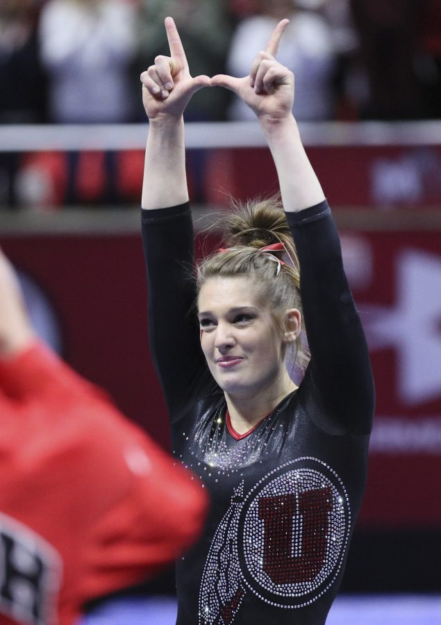 Senior Baely Rowe gives one final U vs Stanford at the Jon M. Huntsman Center on Friday, March 3, 2017. Chris Ayers Daily Utah Chronicle.