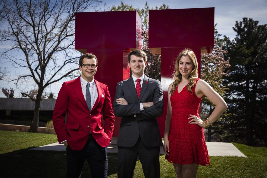 Jessica Patterson, Matt Miller and Jack Bender pose in-front of 'U' at the University of Utah. Wednesday April 20, 2016. (Photo by August Miller)