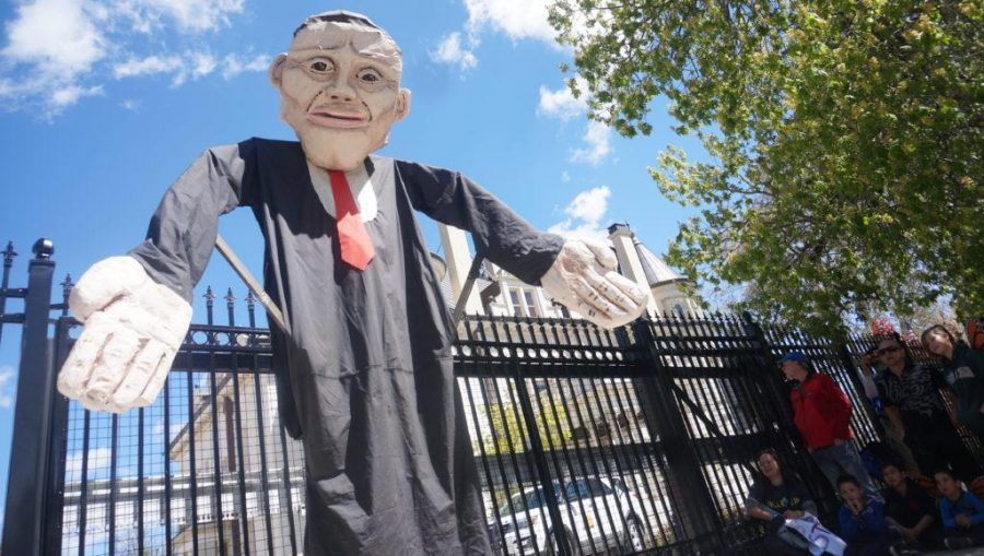 A Governor Herbert mannequin in front of the Governor's Mansion in Salt Lake City, Utah on Saturday, Apr. 29, 2017. (Rishi Deka, Daily Utah Chronicle)